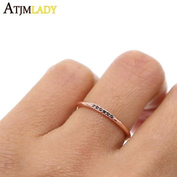 rose gold Copper Party Real Hot Sale Geometric 2017 High Quality Filled Accent Micro Pave Unique Women Ladies Fashion Ring