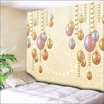 Christmas Ball Ornaments Print Wall Hanging Tapestry - Light Yellow W79 Inch * L59 Inch