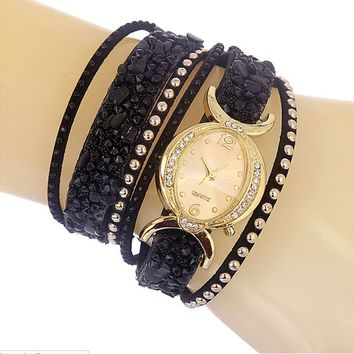 Women's Rhinestone Crystal Bracelet Wrap Studded Watches Black