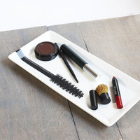 Glass Makeup Tray With Mascara Brush Design Pattern, Vanity Tray, Bathroom Organizer, Counter