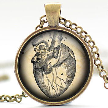 Human Heart Necklace, Halloween Jewelry, Human Anatomy Pendant (1211)