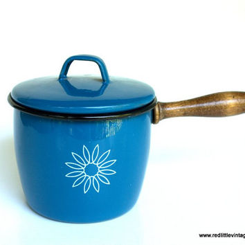 Vintage Blue Enamel Pot by Country Cookery with wooden handle  Home Kitchen Decor