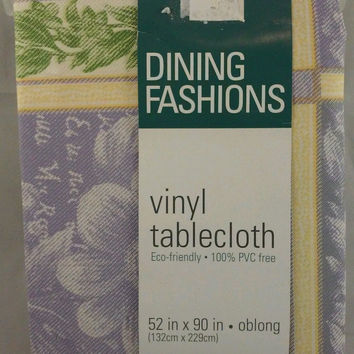 Tablecloth Vinyl 52 x 90 inch Oblong yellow purple green PVC free New