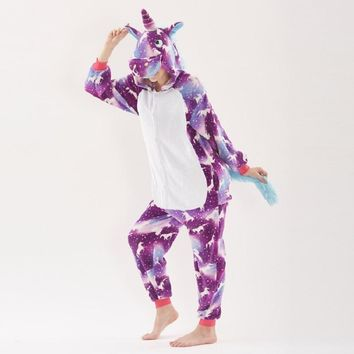 Winter Pajamas Animal new Year Kigurumi Onesuit Adult for Women Unicorn Sleepwear Men Unicornio Hooded Cartoon Pajama cosplay