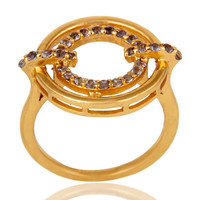 Tanzanite 18K Gold Plated Sterling Silver Stylish Gemstone Ring