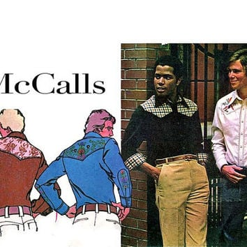 1970s Men's WESTERN SHIRT PATTERN Vintage McCalls 4759 Embroidered Yoke Urban Cowboy Look Chest Size 42 Neck 16 Men's Sewing Patterns