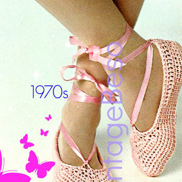 Ballet Slippers CROCHET PATTERN 1970s Retro Crochet Pattern Shoes Crochet Pattern Summer Dancing Instant Download PDF Pattern