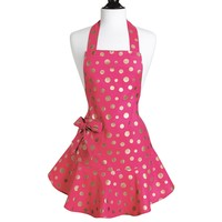 Jessie Steele Apron Josephine Pink & Gold Retro Polka Dot - Final Sale