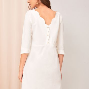 Scallop Trim Button Back Tunic Dress