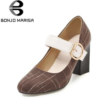 BONJOMARISA 2018 Large Size 31-48 Spring Retro Mary Janes Pumps Shoes Women High Heels Date Office Lady Shoes