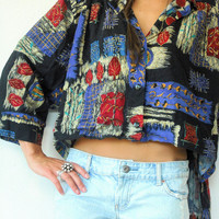 Vintage 80's Abstract Oversize Draped HI LOW Crop Dolman Sleeve Blouse