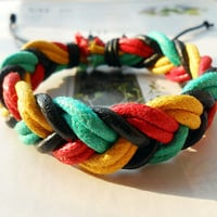 Christmas Gorgeous Trend Style Fashion Colourful Cotton rope Woven Black Leather Tube Wrap Bracelet W-38
