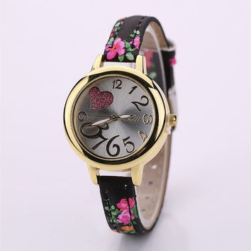 Vintage Flower Quartz Watch Slim Leather Strap Wristwatch Women Ladies Student Birthday Gifts [8833428940]
