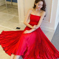 WRAPPED CHEST WITH TWO PIECES OF PLEATED CHIFFON DRESS