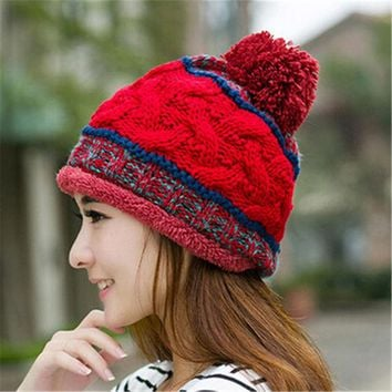VONESC6 Spring Autumn Winter Warm Hars for Women Trendy Wool Caps Wool Balls Female Elasticity Hats Girls