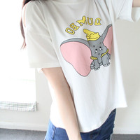"White ""Dumbo"" Printed Tee"