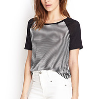 FOREVER 21 Soft Knit Striped Baseball Tee