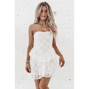 Lace Yourself White Floral Lace Dress.