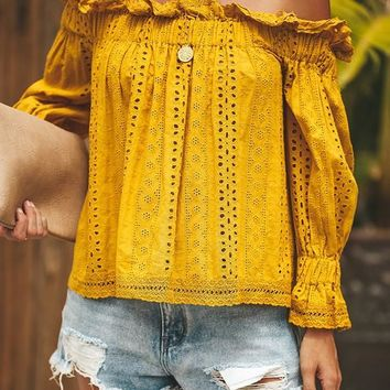 New Yellow Ruffle Cut Out Off Shoulder Backless Long Sleeve Fashion Blouse