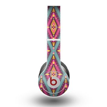 The Pink & Teal Abstract Mirrored Design Skin for the Beats by Dre Original Solo-Solo HD Headphones