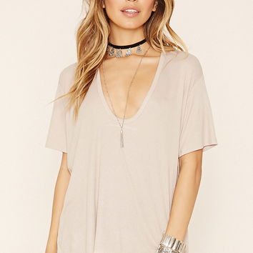 Plunging Ribbed Tee