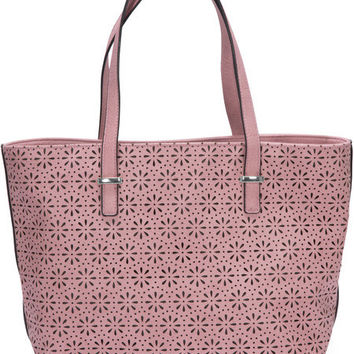 "Alex Tote in Orchid - 11"" x 17"" x 6"" Laser Cut Purse/Handbag"