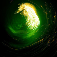 Fine Art Photo Print - 4th of July Fireworks Abstract Green Gold Black Science Fiction Light Swirl -8 x 10 Wall Art Home Decor