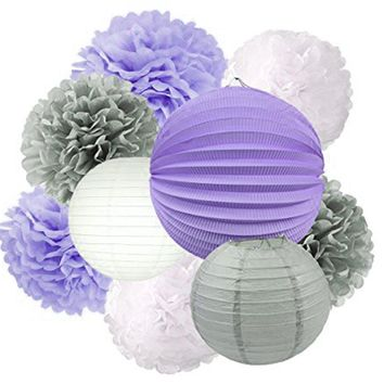 LAVENDER GIRLS Baby Shower- Purple Party Decoration Set | Purple Party Poms & Lantern | Girls Birthday Party | Purple Girls Cake Smash