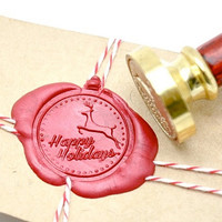 Happy Holidays Christmas Xmas Reindeer Deer Gold Plated Wax Seal Stamp x 1