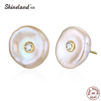 Shineland 100% Genuine 925 Sterling Silver Baroque Natural Freshwater Pearl Stud Earrings Irregular Shape Brincos  for Women