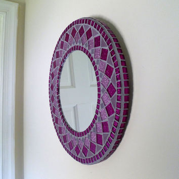 "MIRROR MOSAIC  ""Girls Dream""  round Wall  Mirror Choose size Pink,Purple  Rectangular,Square,Oval custom order"