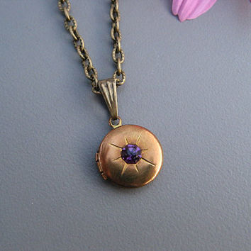 Vintage Antique Brass Amethyst Locket Necklace, Timeless Keepsake Jewelry by Art Inspired Gifts