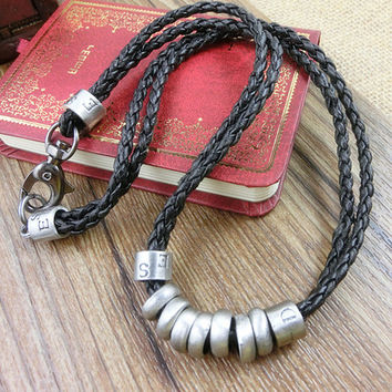 2-Pack Leather Bracelets and Necklace-  Wristband - Great For Men, Women, Teens, Boys, Girls 2594s