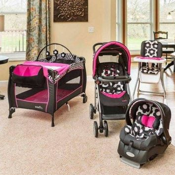 Baby, Infant Stroller Travel System Play yard and High Chair Baby Gear Bundle Collection Set, Marianna