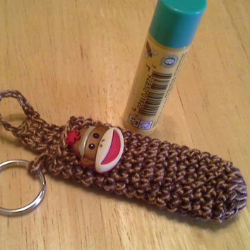 Sock Monkey lip balm cozy, cozies, keychain, handmade crochet accessories, light blue and purple