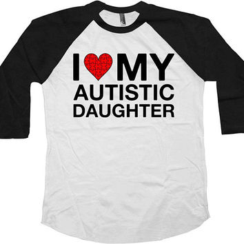 Autism Mom Shirt Dad T Shirt Autistic Support Gifts For Parents Puzzle Piece Autism Advocate Awareness Day Baseball Raglan Tee - SA764