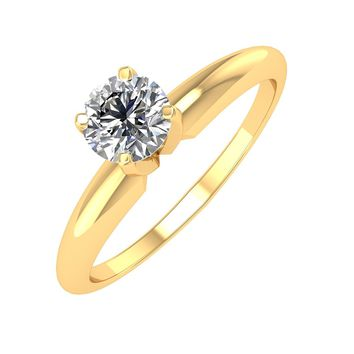 IGI CERTIFIED | 14k Gold Solitaire Diamond 1/2 Carat Engagement Ring Band (White, Yellow, Rose)
