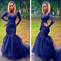 Long Sleeve Evening Dress Mermaid Sheer Pageant Formal Party Celebrity Prom Gown