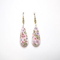 Upcycled Kawaii Plastic Flower Earrings / Teardrop Patterned Dangly Earrings