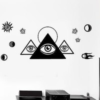 Wall Decal Masons Pyramid Space Universe Cool Mural Vinyl Decal Unique Gift (z3161)