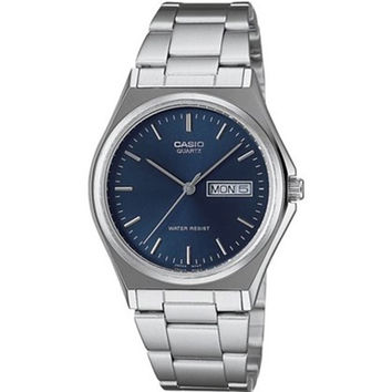 Casio Men's Core MTP1240D-2A Silvertone Stainless Steel Quartz Watch with Blue Dial | Overstock.com Shopping - The Best Deals on Casio Men's Watches