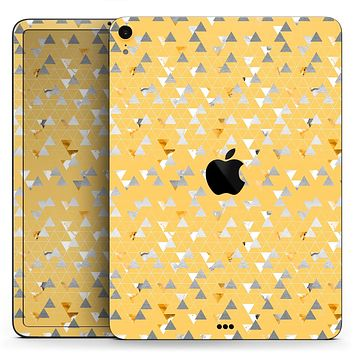 "Karamfila Yellow & Gray Floral V12 - Full Body Skin Decal for the Apple iPad Pro 12.9"", 11"", 10.5"", 9.7"", Air or Mini (All Models Available)"