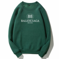Balenciaga autumn and winter trend plus velvet wild double B letter printing round neck long-sleeved sweater Green