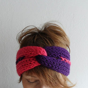 Knitted Headband Turban Headband Earwarmer Twist Headband Chunky Headband Two Color Purple Fuchsia