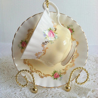 Vintage Royal Albert Tea Cup and Saucer/Invitation Series/Montrose Shape/Buttercup Yellow/Cottage Style/Bridal Gift
