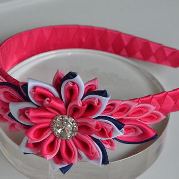 Pink girl headband - girl headband - Kanzashi flower headband - bow headband - hair accessories - women headband.
