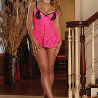 Pink Crisscross Accent Plus Size 2Pc. Baby Doll Lingerie Set