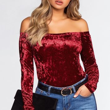 Material Girl Off The Shoulder Top - Burgundy