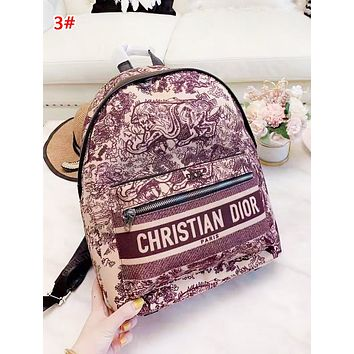 DIOR New fashion letter print multicolor retro high quality backpack bag women 3#