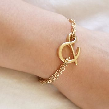 Gold U & I Ampersand Double Chain Bracelet, Bridesmaids Gift, Best Friend Initial Bracelet Jewelry, Monogram Letter Bracelet BFF